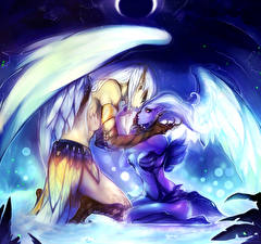 Pictures DOTA 2 Angel Love Vengeful Spirit Skywrath Mage Two Wings vdeo game Fantasy