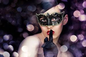 Papéis de parede Máscara Carnaval e baile de máscaras Cabelo preto Meninas Meninas