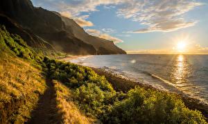 Picture Coast Mountains Sunrises and sunsets Landscape photography Ocean Hawaii Clouds Sun Kalalau Nature