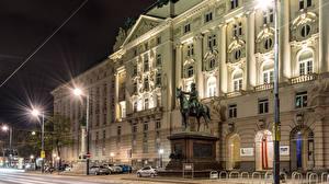 Bilder Österreich Haus Denkmal Wien Nacht Straßenlaterne Stadtstraße