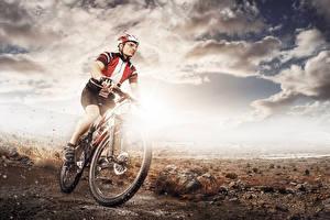 Wallpaper Sky Men Bike Helmet Clouds athletic
