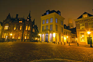 Pictures Netherlands Houses Utrecht Night Street lights Street Cities