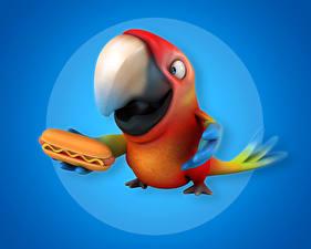 Fonds d'écran Oiseau Psittaciformes Hot-dog Bec 3D Graphiques Animaux