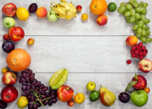 Wallpapers Fruit Apples Grapes Citrus Raspberry Peaches Pears Plums Berry