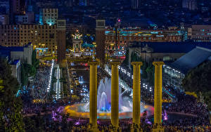 Picture Spain Houses Fountains Evening People Barcelona Street Montjuic Cities