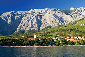 Wallpapers Croatia Mountains Building Coast Promajna Cities