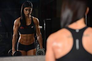 Bilder Rücken Spiegel Hanteln Spiegelung Spiegelbild sportliches