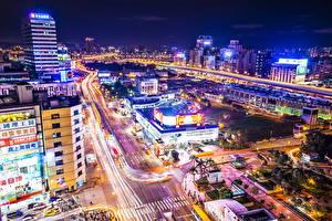 Bilder China Gebäude Wege Taiwan Taipeh Megalopolis Nacht Von oben Städte