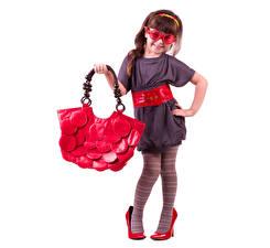 Image Handbag Little girls Dress Glasses Stilettos Pantyhose White background Children