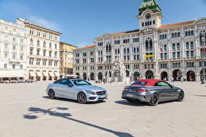 Picture Mercedes-Benz Houses Two Street 2016 C-Klasse Cabriolet automobile Cities