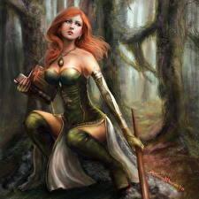 Picture World of WarCraft Warrior Redhead girl Rosabel Pressler Games Girls Fantasy