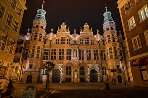 Pictures Poland Houses Gdańsk Design Night time Cities