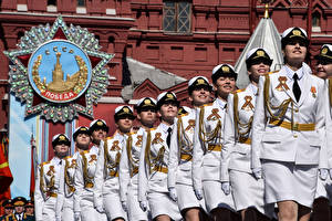 Image Victory Day 9 May Russia Military parade Uniform Girls