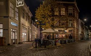 Picture Netherlands Building Street Night Street lights Bike Den Bosch Cities