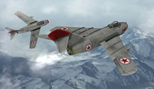 Picture Airplane Fighter aircraft 2 MIG 15 Aviation 3D_Graphics