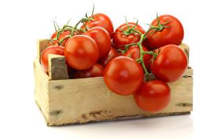 Hintergrundbilder Tomaten Hautnah Weißer hintergrund Lebensmittel