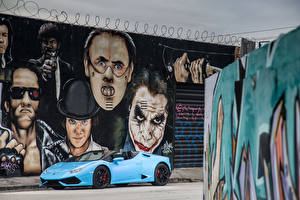 Picture Lamborghini Graffiti Light Blue Metallic Cabriolet  auto
