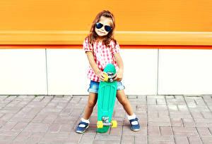 Images Skateboard Little girls Glasses Legs Children