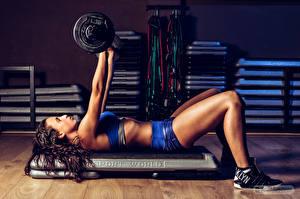 Bilder Fitness Hantel Bein Körperliche Aktivität Mädchens