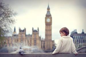 Bilder England London Big Ben Sitzend Kleine Mädchen Kinder