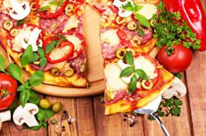 Bilder Pizza Nahaufnahme Tomaten das Essen