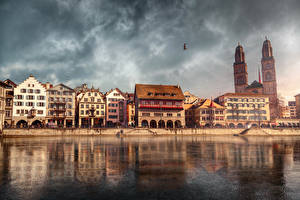 Pictures Switzerland Houses Lake Sky Zurich Street