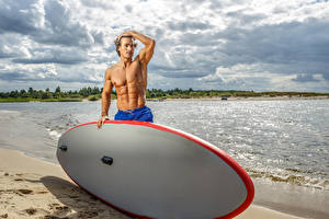 Images Men Coast Surfing Clouds sports