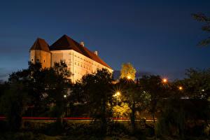 Wallpapers Poland Castles Night Trees Street lights Sandomierz Royal Castle Cities
