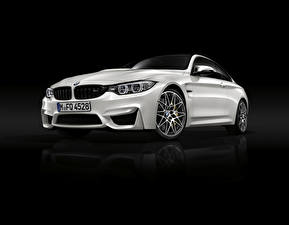 Picture BMW Black background White M4 Coupe F82 Cars