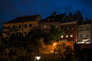 Wallpapers Poland Houses Night time Street lights Lublin Cities