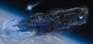 Bureaubladachtergronden Schepen Techniek Fantasy Interstellair ruimteschip Dreadnought computerspel Fantasy Ruimte