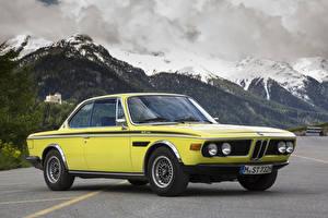 Wallpaper BMW Antique Mountain Yellow 1971-73 3.0 CSL Worldwide (E9) Cars