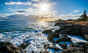 Pictures USA Landscape photography Coast Waves Sky Ocean Hawaii Clouds Nanakuli Nature