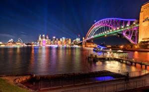 Bilder Australien Brücken Haus Sydney Nacht Straßenlaterne