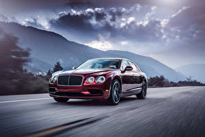 Wallpaper Bentley Roads Wine color Metallic Luxurious Clouds Driving 2016 Flying Spur V8 S Cars