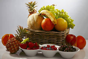 Image Still-life Fruit Grapes Pineapples Citrus Melons Berry