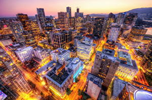 Fotos Kanada Haus Abend Vancouver Megalopolis Straße Von oben Städte
