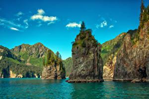 Hintergrundbilder USA Flusse Gebirge Himmel Alaska Felsen Kenai Fjords National Park Natur