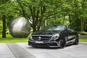 Bilder Mercedes-Benz Brabus Schwarz Metallisch Cabriolet 2016 Brabus 850 Cabriolet (A217) auto
