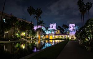 Fotos Gebäude Teich USA San Diego Kalifornien Palmengewächse Nacht Balboa Park
