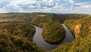 Images Czech Republic Prague River Landscape photography Forests Clouds river Vltava Nature