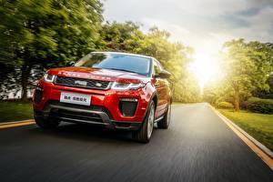 Papel de Parede Desktop Land Rover Vermelho Velocidade Na frente Range Rover Evoque Carros