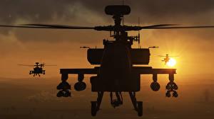Bilder Hubschrauber AH-64 Apache DCS World, AH-64D Squadron Spiele 3D-Grafik
