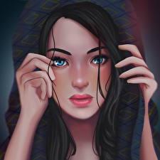 Fotos Gezeichnet Gesicht Blick Haar Brünette Lexanna