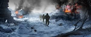 Fotos Soldaten Panzer Gezeichnet Schnee Heer