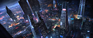 Picture Fantastic world Skyscrapers Houses Megalopolis From above Fantasy