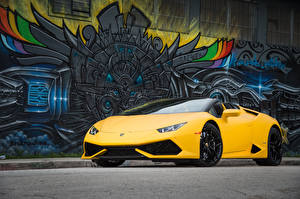 Hintergrundbilder Lamborghini Gelb Huracan LP 610-4