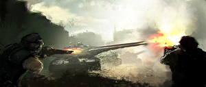 Hintergrundbilder Soldaten Panzer Schuss Fantasy