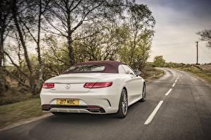 Hintergrundbilder Wege Mercedes-Benz Hinten Weiß Cabriolet S 500 Cabriolet AMG Autos