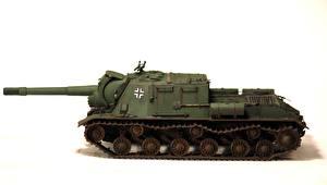 Images Self-propelled gun Toys White background ISU-152 Army